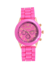Cmatix Ladies Hot Pink Dial Rubber Band Watch [UMB-SW-03-12]