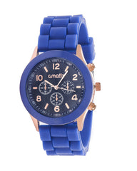 Cmatix Unisex Black Dial Dark Blue Rubber Band Watch [UMB-SW-03-4]