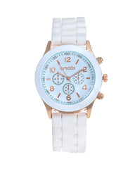 Cmatix Unisex White Dial Rubber Band Watch [UMB-SW-03-9]