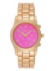 Cmatix Women's Pink Dial Stainless Steel Band Watch [UMB-SW-1002-G-PINK]