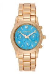 Cmatix Women's Turquoise Dial Stainless Steel Band Watch [UMB-SW-1002-G-TURQUOISE]