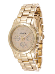 Cmatix Platinum Classic Unisex Gold Dial Stainless Steel Band Watch - UMB-SW-1002-GOLD