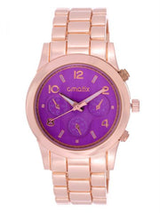 Cmatix Women's Purple Dial Stainless Steel Band Watch [UMB-SW-1002-RG-PURPLE]