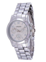 Cmatix Platinum Classic Unisex Silver Dial Stainless Steel Band Watch - UMB-SW-1002-SILVER