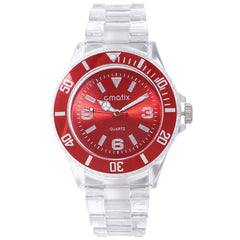 Cmatix Unisex Clear Red Watch [UMB-SW-300-10]