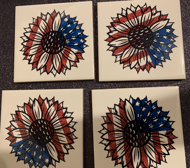 American Flag Sunflower Coffee Coaster