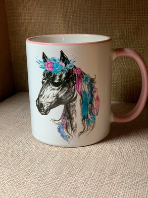 Horse and Roses coffee cup