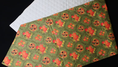 Pumpkin and Sunflower on green w/ tan quilted backing Table Runner