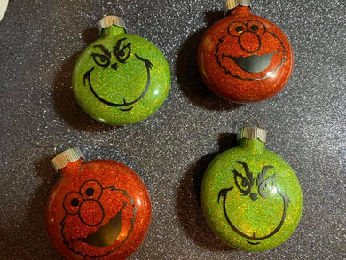 Grinch or Elmo Ornaments
