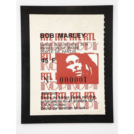 ALBERT KOSKI / TOILE SUR CHASSIS / SOUCHE TICKET / BOB MARLEY / FORMAT 130 X 195 CM