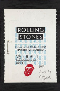 ALBERT KOSKI / TOILE SUR CHASSIS / SOUCHE TICKET / ROLLING STONES SIGNATURE / FORMAT 100 X 130 CM