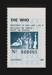 ALBERT KOSKI / TOILE SUR CHASSIS / SOUCHE TICKET / THE WHO / FORMAT 100 X 130 CM