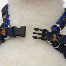 Load image into Gallery viewer, Adjustable Denim  Vest Harnesses Lead Set