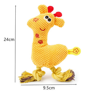 Squeak Giraffe Fleece Rope Interactive Toy