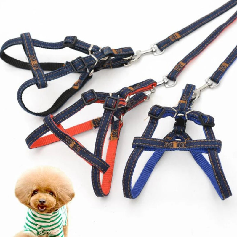 Adjustable Denim  Vest Harnesses Lead Set