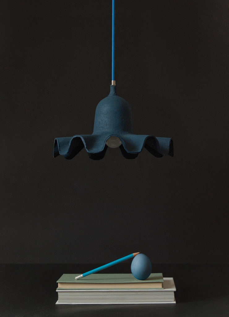 Egg of Columbus Suspended Carton Lamp in Light Blue design by Seletti
