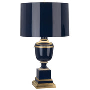 Annika Table Lamp in Cobalt Lacquered Paint w/ Natural Brass & Painted Paper Shade design by Robert Abbey