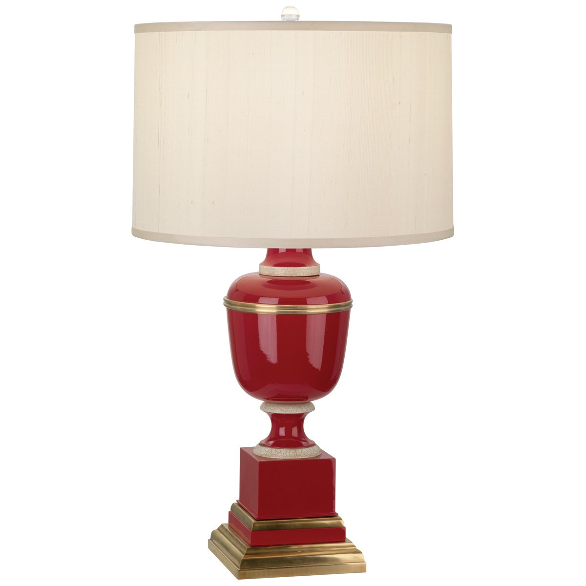 Natural   Fabric   Design   Shade   Brass   Paint   Table   Lamp   Red