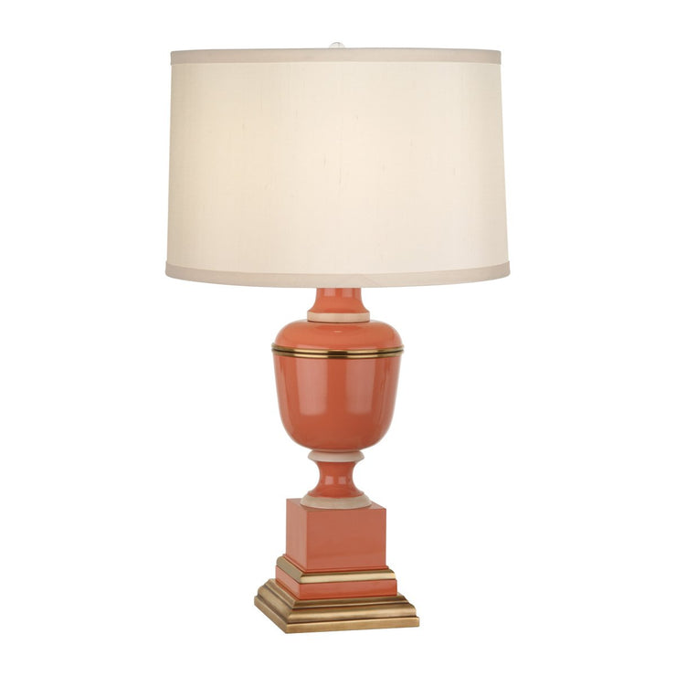 Annika Accent Lamp in Tangerine Lacquered Paint w/ Natural Brass & Fabric Shade design by Robert Abbey