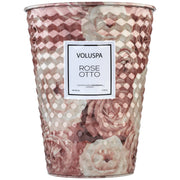 2 Wick Tin Table Candle in Rose Otto design by Voluspa