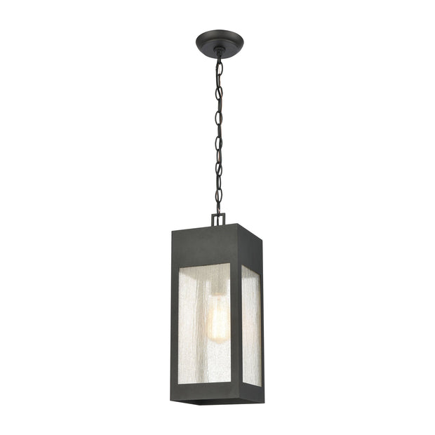 Angus 1-Light Outdoor Pendant in Charcoal with Seedy Glass Enclosure by BD Fine Lighting