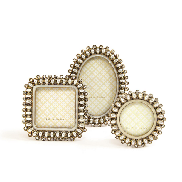 Precious Pearls Jeweled Mini Photo Frame in Assorted Shapes