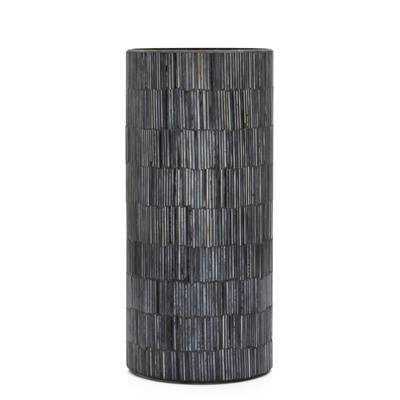 "Bamboo Glass Mosaic 4 x 9""Cylinder Vase in Black"