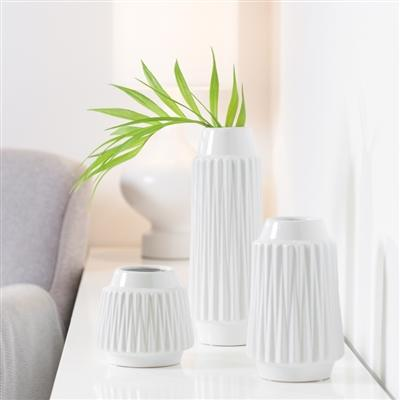 "Ella Faceted Ceramic 6""h Vase in White"