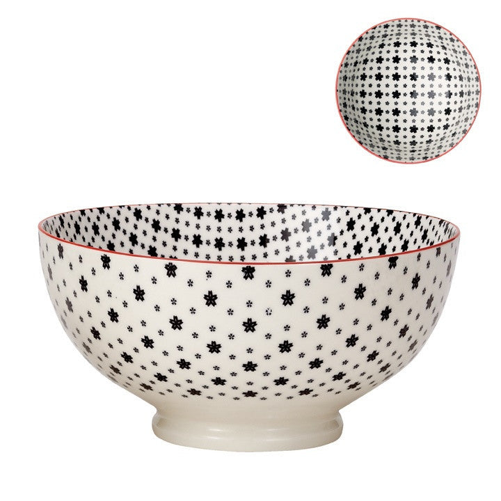 Large Kiri Porcelain Bowl in Black w/ Red Trim design by Torre & Tagus