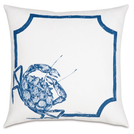 Blue Crab Hand-Painted Designer Pillow design by Studio 773