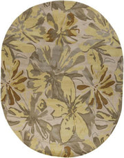 Athena Collection 100% Wool Area Rug in Ivory, Pear, and Slate Green design by Surya