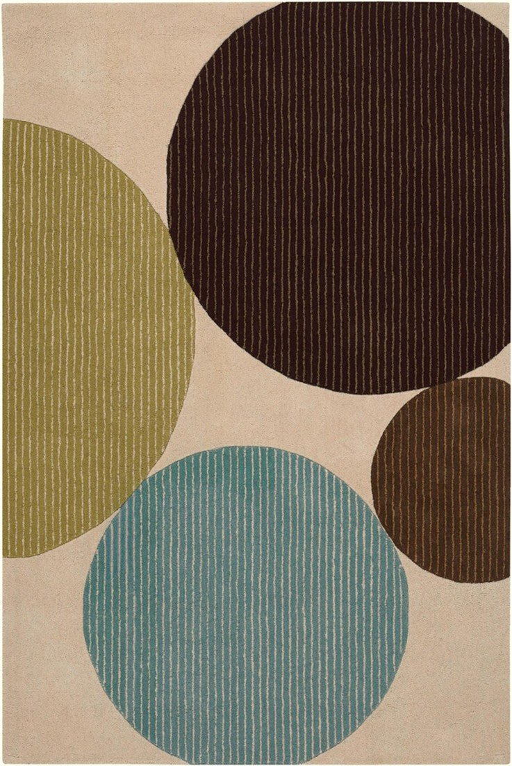 Bense Collection Hand-Tufted Area Rug, Beige w/ Multi-Color Circles