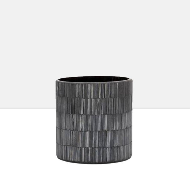 "Bamboo Glass Mosaic 5 x 5"" Drop Pot in Black"