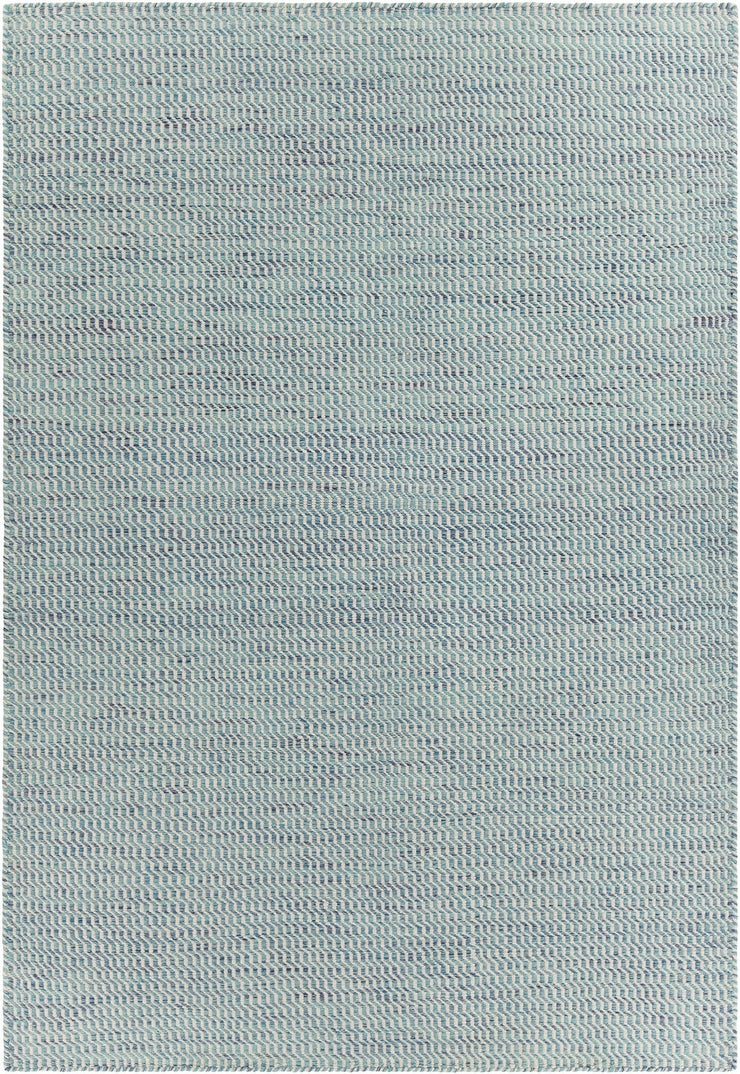 Crest Collection Hand-Woven Area Rug in Blue & White