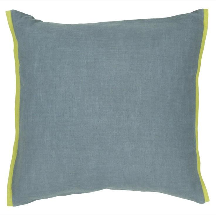 Handmade Contemporary Pillow, Blue w/ Green Edge