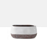 Corsica Ceramic Crackle 2 Tone Oval Pot Short in White
