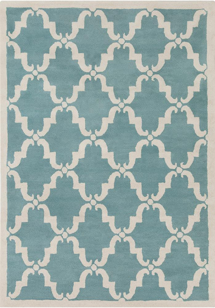 Davin Collection Hand-Tufted Area Rug in Light Aqua & White