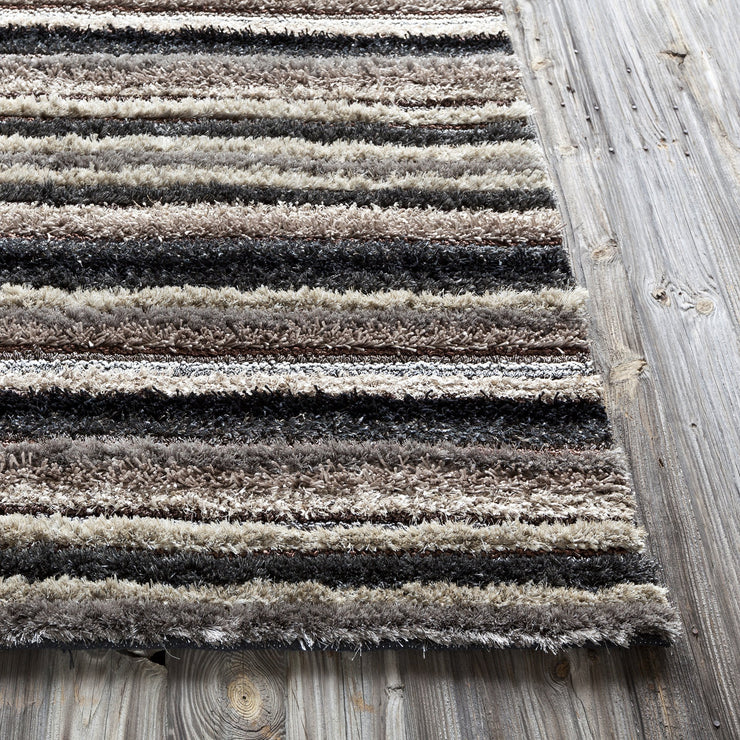 Delight Collection Hand-Woven Area Rug in Taupe, Blue, & Black