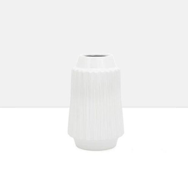 "Ella Faceted Ceramic 9""h Vase in White"