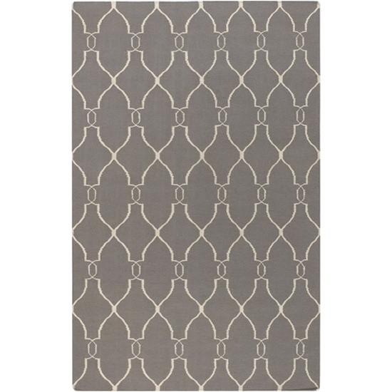 Fallon Wool Area Rug in Elephant Grey and Papyrus design by Jill Rosenwald