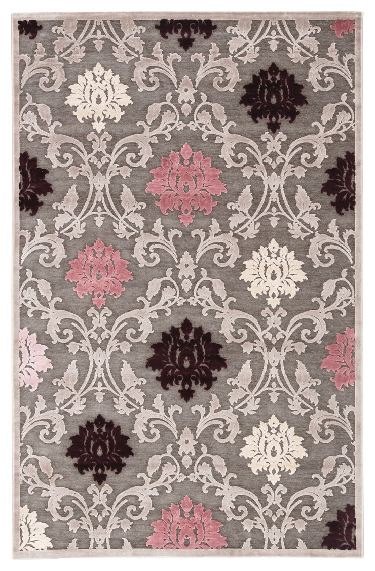 Glamourous Damask Gray & Purple Area Rug