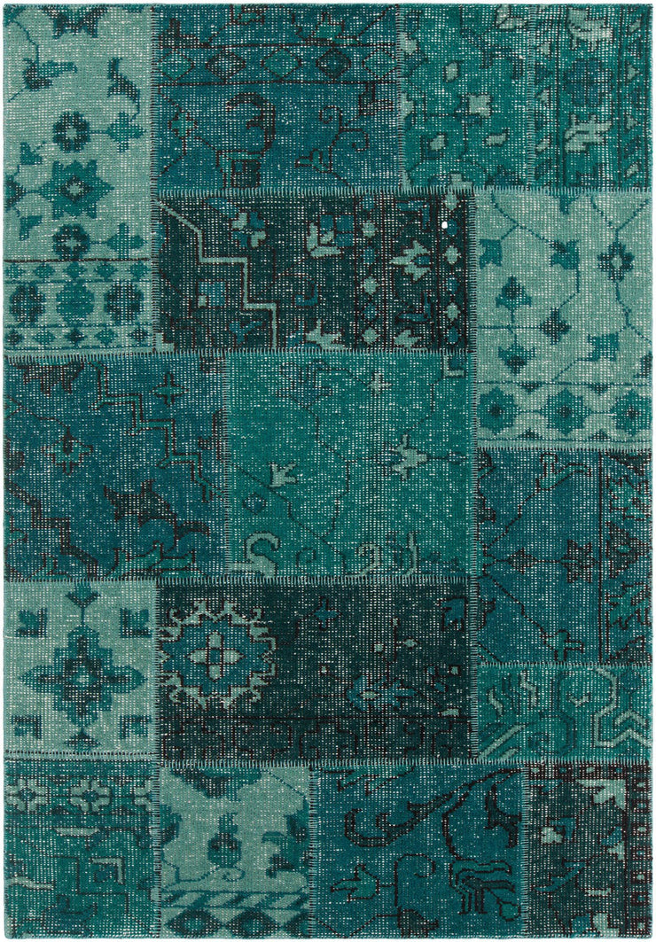 Fusion Collection Hand-Knotted Area Rug in Teal & Black