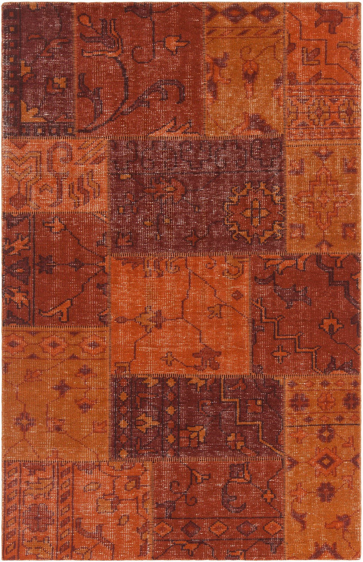 Fusion Collection Hand-Knotted Area Rug in Orange, Maroon, & Red