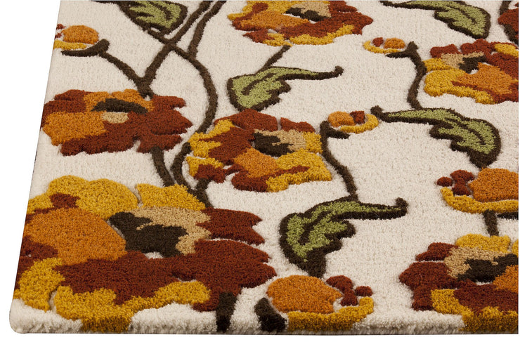 Fiore Collection Hand Tufted Wool Area Rug in White and Rust design by Mat the Basics