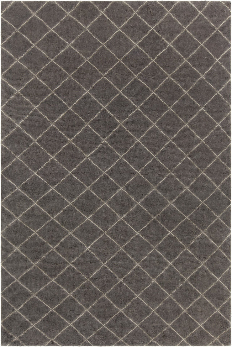 Gaia Collection Hand-Knotted Area Rug in Charcoal & Cream
