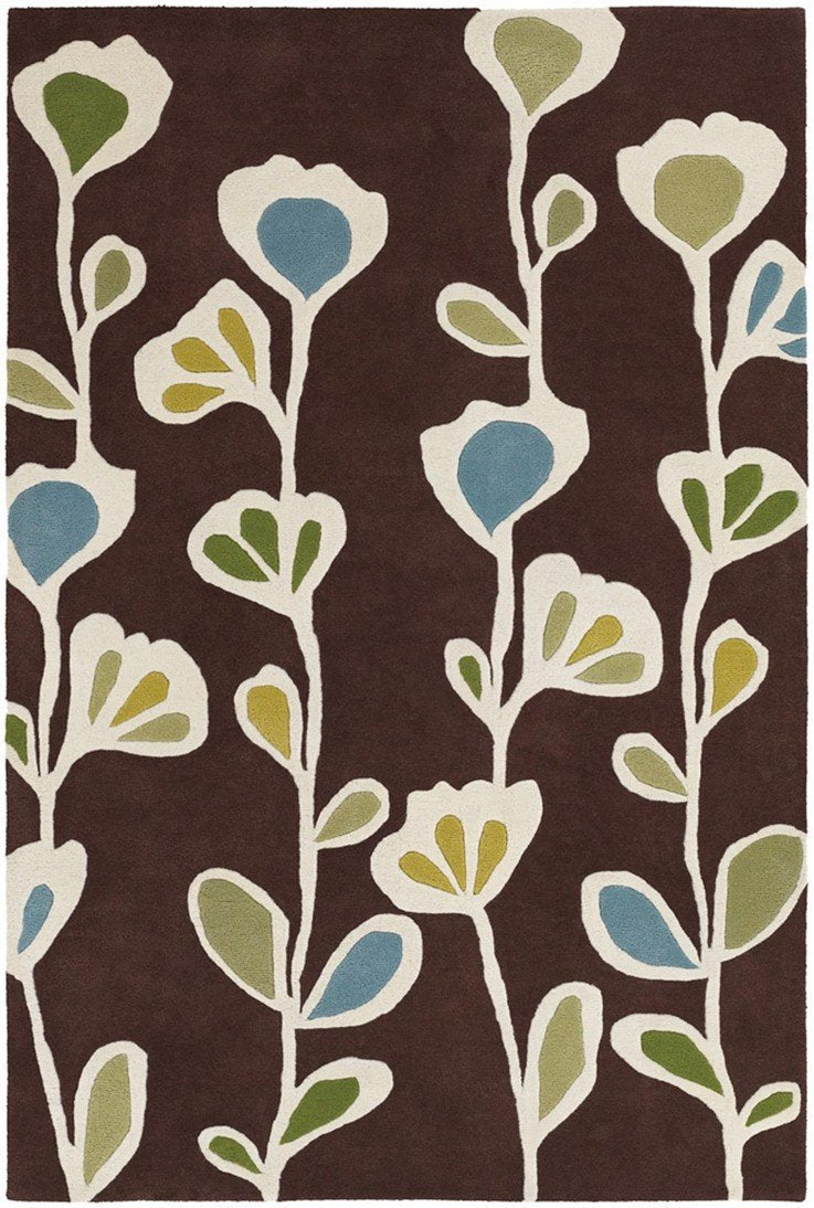 Inhabit Collection Hand-Tufted Area Rug, Brown w/ Flowers