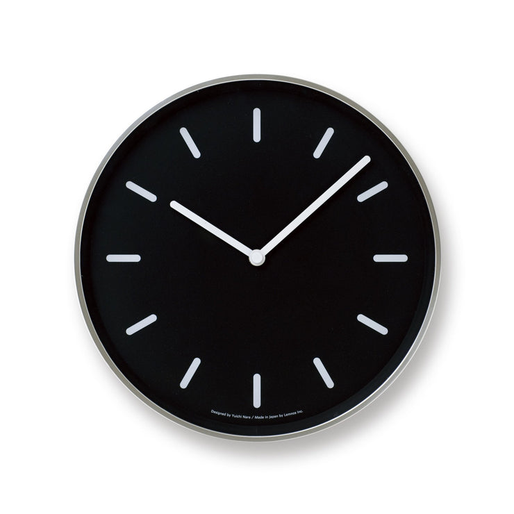 Mono Wall Clock in Black w/ Lines