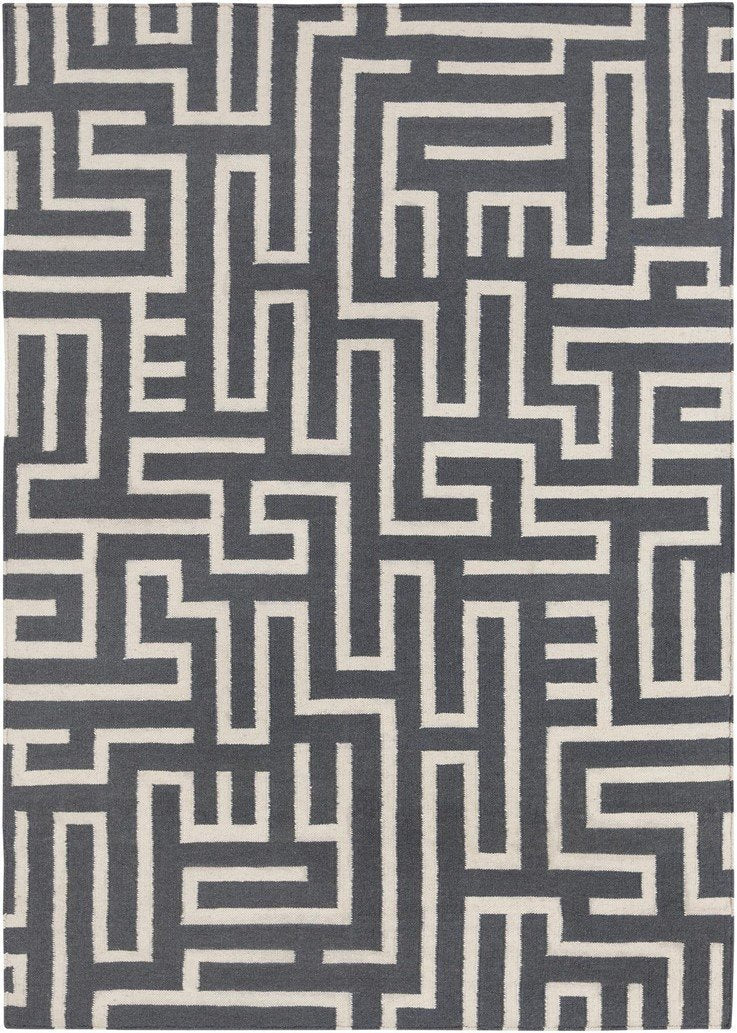 Lima Collection Hand-Woven Area Rug, Grey
