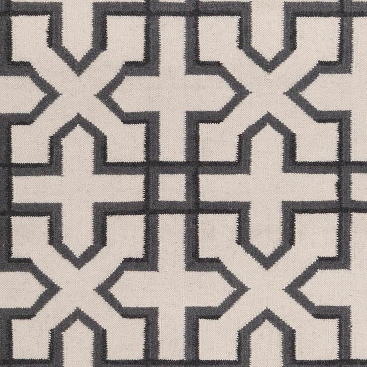 Lima Collection Hand-Woven Area Rug, Beige & Black