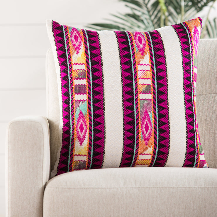 Flamenco Striped Multicolor & Ivory Pillow design by Jaipur Living